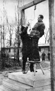 Rudolf Hoess the commandant of the Auschwitz concentration camp, is hanged next to the crematorium at the camp, 1947 (1) (1)